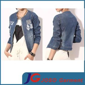 Chest Patchround Collor Sport Style Girl Denim Coat (JC4065) pictures & photos