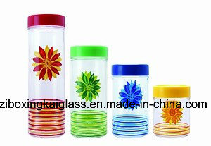 4PCS Glass Bottle Set with Hand Drawing