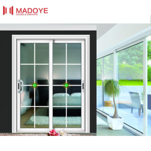 Thermal Break Two Track Sliding Door with Decorative Design pictures & photos