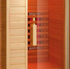 Hemlock Wood Sauna Cabin, 1550W Red Glass Heater, Shower Cabin (K9766)