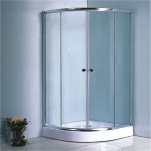 China Bathroom Tempered Glass Double Sliding Round Shower Enclosure pictures & photos