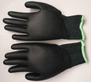 Economy PU Coated Safety Work Gloves pictures & photos