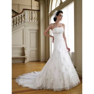Embroidery Bride Dresses Strapless Taffeta Bride Dresses