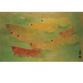 Chinese Painting Qian-Shuo Liu, Golden Arowana (CP082)
