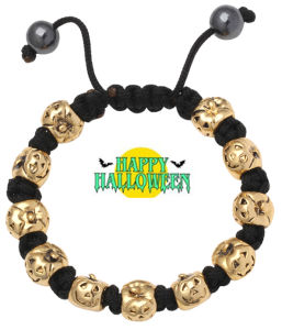 Halloween Silver Charm Bead Bracelet Ve74