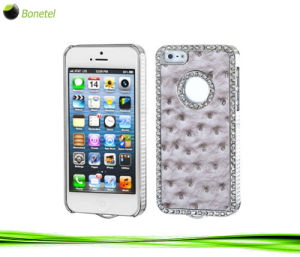 Exotic Leather Diamond Gunmetal Case for iPhone 4 / 4s (Ostrich Grey)