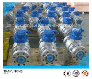 API Three Pieces Carbon Steel Flanged Trunnion Mounted Ball Valve pictures & photos