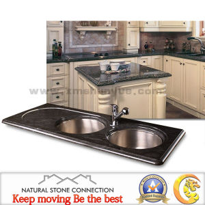 Polished Black Granite Marble Engineered Kitchen Countertop