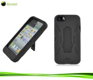 2 in 1 Hybrid Hard Shell Mobile Phone Case with Kickstand for iPhone 5 -Black