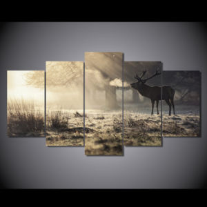HD Printed Winter Deer Painting on Canvas Room Decoration Print Poster Picture Canvas Mc-054 pictures & photos