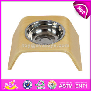 High Quality Safety Stainless Steel Bowl Wooden Pet Feeder for Small Dogs Cats and Pets W06f045 pictures & photos