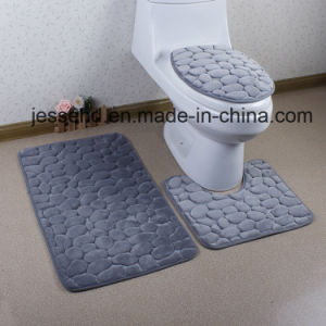 3D Embossed Anti Slip and Washable Bathroom Floor Mat Set 3PCS pictures & photos