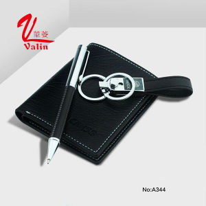 Wholesale High-End Leather Ballpoint Pen Promotion Pen with Wallet pictures & photos