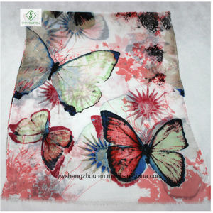 Fashion Lady Scarf with Butterfly Flower Printed Satin Shawl pictures & photos