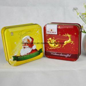Custom Metal Food Grade Small Square Christmas Candy Tin Box