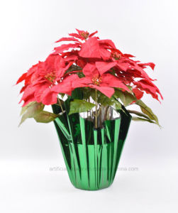Faux One Side Brush Christmas Flower 11 Heads with Paper Cone for Christmas Decoration pictures & photos