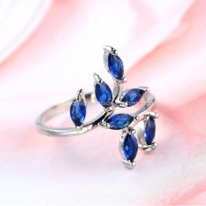 Creative Leaf H 925 Silver Ring with Blue Stone Diamond Drill Bit Engagement Ring pictures & photos