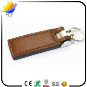 Ancy Rectangle Genuine Leather Keychain with Stamp Logo pictures & photos
