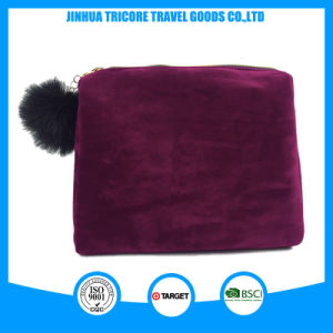 2017 Popular Red Color Velvet Cosmetic Bag with Fuzzy Ball Puller pictures & photos