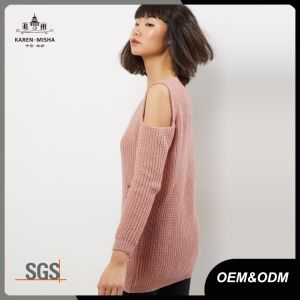 Blush Pink Ladies Cold Shoulder Ladder Knit Fashion Jumper Sweater pictures & photos
