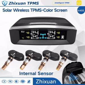 TPMS LCD Display Wireless Tire Tyre Pressure Monitoring System 4 Sensors Solar Charge USB pictures & photos