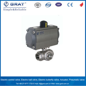 3 Way Inner Threaded Pneumatic Operated Ball Valve pictures & photos