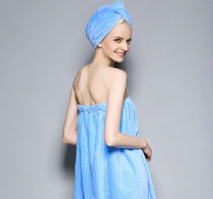 Quick Dry Cutting Velvet Bathrobe with High Water-Absorption pictures & photos