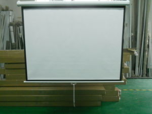 100 Inch Wall Mount Office Projector Matte White Manual Projection Screen pictures & photos