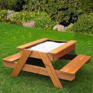 Children Kids Natural Wooden Sandpit Wirh Chair Outdoor Sandpit (08)