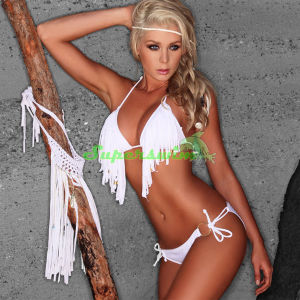 Women Tasselled Halter String Bikini Swimwears pictures & photos
