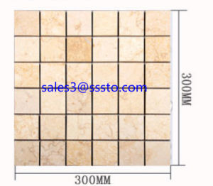 Square Natural Travertine Beige Yellow Marble Mosaic pictures & photos