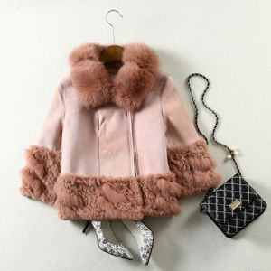 Real Sheep Leather Fox Fur Coat for Women Short Style pictures & photos