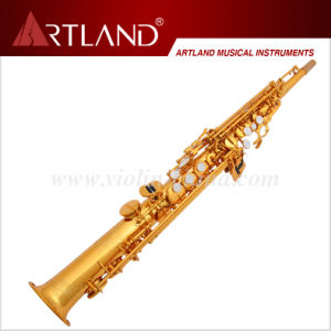 Bb Key Golden Lacquer Finish Professional Soprano Saxophone (ASS8506) pictures & photos