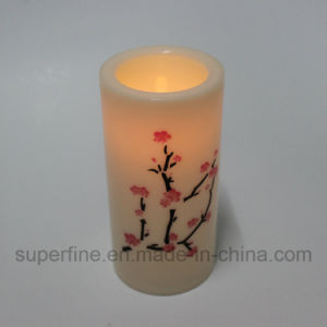 Christmas Decorative Fake Flickering LED Plastic Pillar Candle with Plum Blossom Pattern Printed pictures & photos