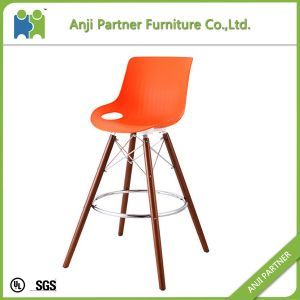 High Quality Plastic Bar Stool chair with Beech Legs (Sanvu) pictures & photos