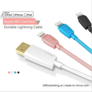 Rock Mfi Lightning USB Cable for iPhone 120cm Nylon Cable pictures & photos