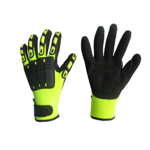 Hi-Viz Color Mechanic Nitrile Palm TPR Working Glove-5054 pictures & photos