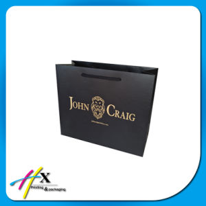 OEM Black Paper Gift Packaging Bag with Foil Stamping Logo pictures & photos