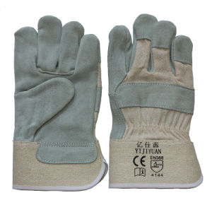 Full Palm Industrial Safety Cowhide Split Leather Work Gloves pictures & photos