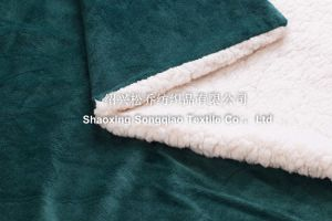 Velour with Shu Velveteen Sherpa Throw -Green pictures & photos