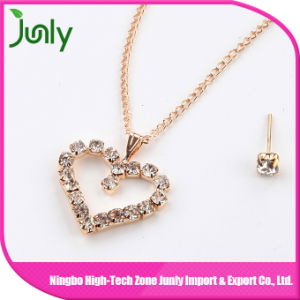 Heart Gold Pendant Women Fashion Necklace Set Jewelry with Earrings