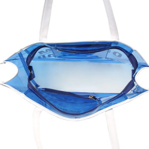Blue Waterproof PVC White Handle Transparent Handbag (A092) pictures & photos