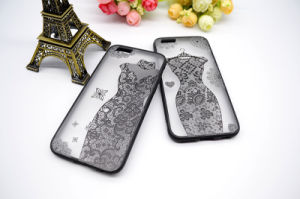 Transparent Hard PC Case with Flexible TPU Lace Fabric Mobile Phone Cover Case for iPhone 7 pictures & photos