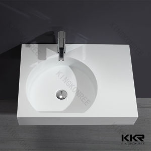 Acrylic Stone White Wall Hung Corner Wash Basin for Bathroom pictures & photos