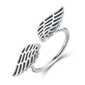 100% 925 Sterling Silver Wings Feather Finger Open Ring pictures & photos