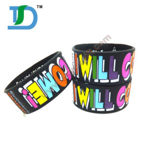 "1"" Wide Customalized Logo Silicone Wristband pictures & photos"