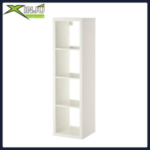 White Finish Wood Wall 5-Tier Corner Bookshelf