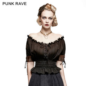 T-444 Steampunk New Fashion Classical Slash Neck Narrow Waist T-Shirt pictures & photos