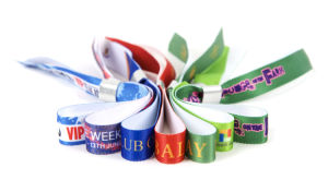 Customized Event /Festival Woven Fabric Wristband with One Time Lock pictures & photos