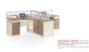 Modern Simple Office Two Person Table with Sliding Document Safer pictures & photos